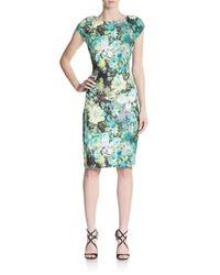 Eci | Green Floral-print Sheath Dress | Lyst