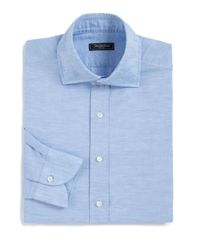 Saks Fifth Avenue - Blue Classic-fit Linen & Cotton Blend Dress Shirt for Men - Lyst