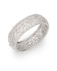 Adriana Orsini - Gray Pavà Floral Hinged Bangle - Lyst