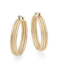 "Ak Anne Klein   Metallic Anne Klein 3-row Hoop Earrings/1.5""   Lyst"
