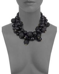 Kenneth Jay Lane | Multi-Row 22K Gold And Black Glitz Bead Necklace | Lyst