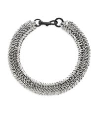 Rebecca Minkoff | Metallic Dog Clip Chainmail Necklace | Lyst