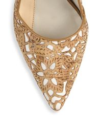Alice + Olivia - Natural Dina Three Laser-cut Cork Pumps - Lyst