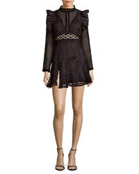 Haute Rogue - Black Cutout Lace Mini Dress - Lyst