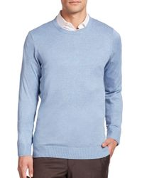 Saks Fifth Avenue Blue Silk-blend Crewneck Sweater for men