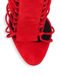 Giuseppe Zanotti - Red Strappy Suede Sandals - Lyst