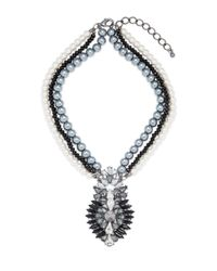 Cara - Metallic Multi-strand Pearl Pendant Necklace - Lyst