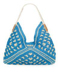 Saks Fifth Avenue - Blue Crocheted Straw Hobo - Lyst