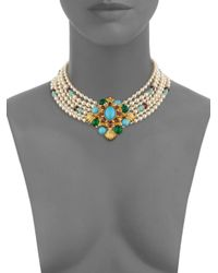 Ben-Amun - Metallic Crystal And Faux Pearl Multi-strand Collar Necklace - Lyst