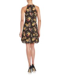 19 Cooper - Black Floral Print A-line Dress - Lyst