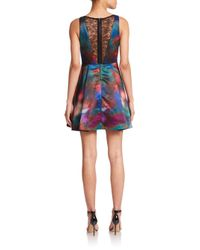 Alice + Olivia - Blue Belia Lace-back Watercolor Dress - Lyst