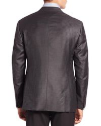 Giorgio Armani - Gray Houndstooth Wool Jacket for Men - Lyst
