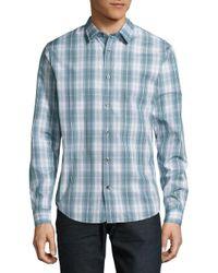 Vince - Blue Cotton Plaid Button-down Shirt for Men - Lyst