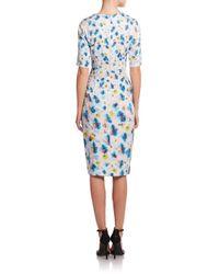 Suno - Blue Floral-print Cutout Sheath Dress - Lyst