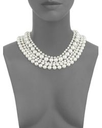 Saks Fifth Avenue - Metallic 5mm-10mm Silver Faux Pearl Multi-strand Necklace - Lyst
