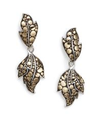 John Hardy - Metallic Dot Ayu Sterling Silver & 18k Yellow Gold Leaf Drop Earrings - Lyst
