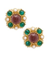 Ben-Amun - Metallic Crystal Multicolored Clip-on Earrings - Lyst