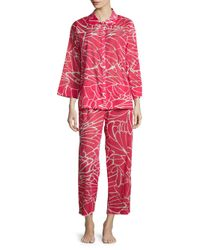 Natori Red Abstract Butterfly Pajama Set