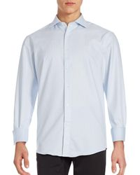 Bugatchi - Blue Tonal Jaquared Shirt for Men - Lyst