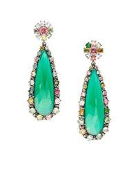 Bavna - .39tcw Diamonds, Green Onyx, And Tourmaline Sterling Silver Earrings - Lyst