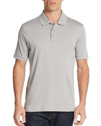 Saks Fifth Avenue - Gray Pima Cotton Polo Shirt for Men - Lyst