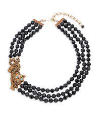 Heidi Daus - Black Tiger Beaded Crystal Multi-strand Necklace - Lyst