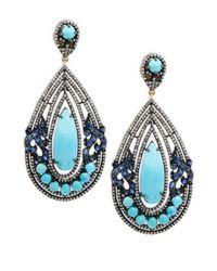 Bavna - Champagne Diamond, Turquoise, Blue Sapphire & Sterling Silver Earrings - Lyst