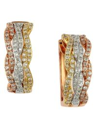Effy - Metallic 14 Kt Gold Diamond Hoop Earrings - Lyst