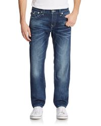 True Religion - Blue Slim-fit Flap Pocket Straight-leg Jeans for Men - Lyst