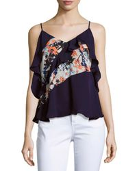 Parker | Blue Draped Ruffled Top | Lyst