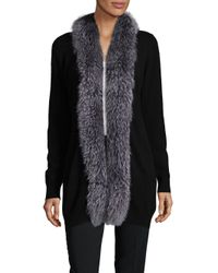 Saks Fifth Avenue - Black Natural Fox Fur Trimmed Cashmere Sweater - Lyst