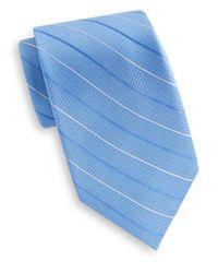 Saks Fifth Avenue - Blue Pinstripe Silk Tie for Men - Lyst