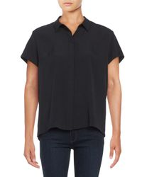 French Connection Black Point Collar Crepe Top