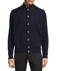 Thomas Dean - Blue Buttoned Wool Cardigan for Men - Lyst