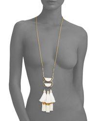 Saks Fifth Avenue - Multicolor Goldtone Tassel Pendant Necklace - Lyst