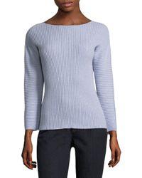 Eileen Fisher - Blue Bateau-neckline Cashmere Sweater - Lyst