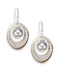 Majorica - Metallic 10mm Grey Pearl & Sterling Silver Earrings - Lyst