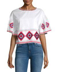 Tularosa - White Sienna Embroidered Ruffle-sleeve Tee - Lyst