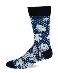 Bugatchi - Blue Patterned Crew Socks for Men - Lyst