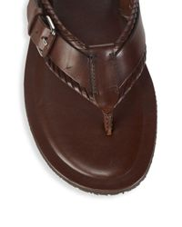 Saks Fifth Avenue - Brown Leather Thong Sandals for Men - Lyst