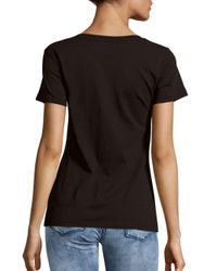French Connection - Black Short-sleeve Cotton Printed Tee - Lyst