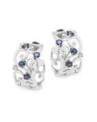 Effy | Metallic Diamond, Sapphire & 14k White Gold Solid Fill Earrings | Lyst