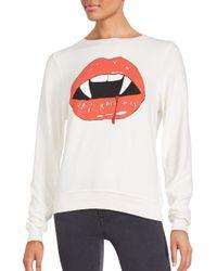 Wildfox - White Vampire Lips Boatneck Tee - Lyst