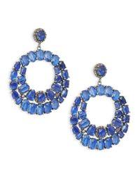 Bavna - Metallic Sterling Silver, Blue Kayanite & Diamond Drop Earrings - Lyst