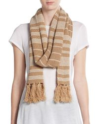 Vince Camuto - Brown Striped Knit Scarf - Lyst