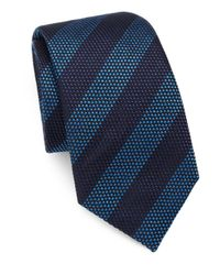 Saks Fifth Avenue - Blue Striped Silk/cotton Tie for Men - Lyst