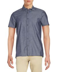 Vince Camuto - Blue Chambray Short-sleeve Sportshirt for Men - Lyst