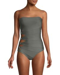 Carmen Marc Valvo - Green One-piece Bandeau Swimsuit - Lyst