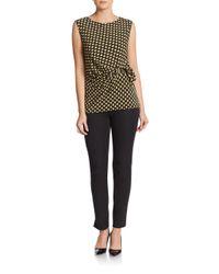 Chaus New York - Black Printed Side-tie Top - Lyst