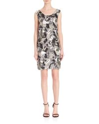 Laundry by Shelli Segal - Black Platinum Geometric Sequin Beaded Dress - Lyst